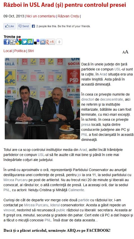 Razboi in USL Arad (si) pentru controlul presei