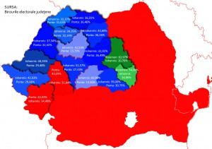 harta alegeri procente rezultate vot ponta iohannis